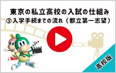 動画:東京の私立高校の入試の仕組み ③入学手続きまでの流れ(都立第一志望) 高校版